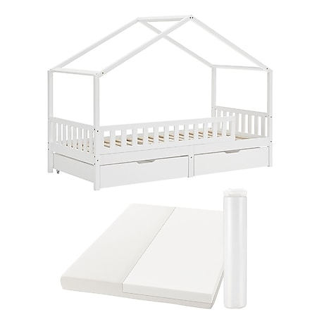 Juskys Yuki Kinderbett 90x200 cm -Komplett Set mit Matratze, Rausfallschutz, Bettkasten & Lattenrost - Bild 1