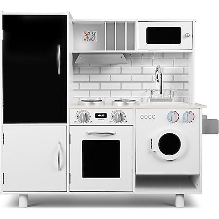 Baby Vivo Kinderküche Spielküche aus Holz - Bruno mit Tafel in Weiß - Bild 1