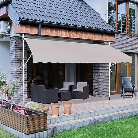 Strattore Klemmmarkise 300 x 120 cm - Grau Balkonmarkise Sonnenschutz - Bild 1