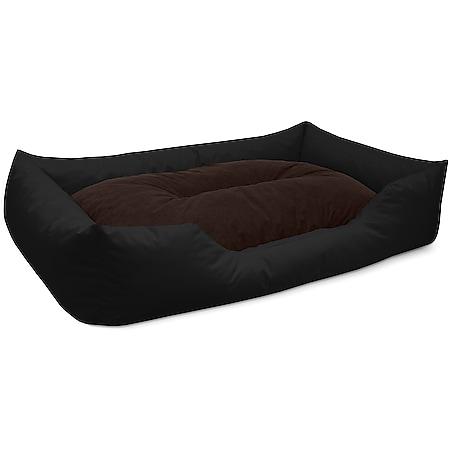 BedDog® Hundebett MIMI, Hundesofa aus Cordura, Microfaser-Velours,Hundekissen... XXL (ca. 120x85cm), BLACK-FIELD (schwarz/braun) - Bild 1