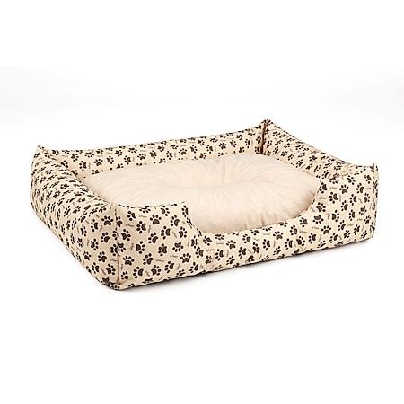 BedDog® Hundebett MIMI, Hundesofa aus Cordura, Microfaser-Velours,Hundekissen... S (ca. 55x40cm), MELANGE-DOG (beige/muster) - Bild 1