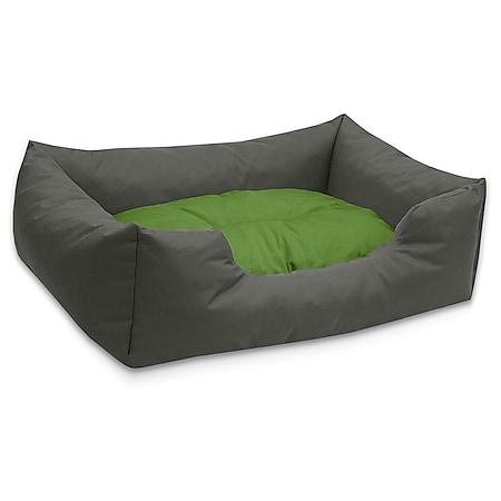 BedDog® Hundebett MIMI, Hundesofa aus Cordura, Microfaser-Velours,Hundekissen... M (ca. 70x55cm), GREEN-ROCK (grau/grün) - Bild 1