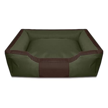 BedDog® Hundebett BRUNO, waschbar, Hundekissen, Hundesofa für drinnen,draußen... XL, GREEN-FIELD (grün/braun) - Bild 1