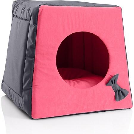 BedDog® Katzenhöhle 3in1 MIA, Katzenbox, Katzenhütte, kuscheliger Katzenkorb... PINK-ROCK (grau/rosa) - Bild 1