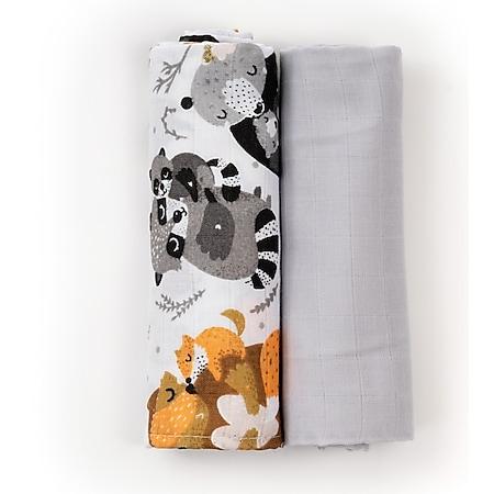 HappyMess Premium Musselin Swaddle - 2er-Set 120x120cm, gratis 2er-Set 35x35cm... schwarz/gelb/panda - Bild 1