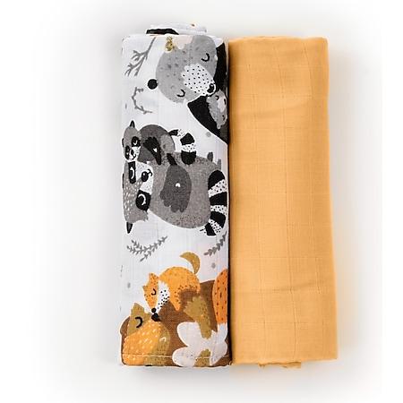HappyMess Premium Musselin Swaddle - 2er-Set 120x120cm, gratis 2er-Set 35x35cm... gelb/schwarz - Bild 1