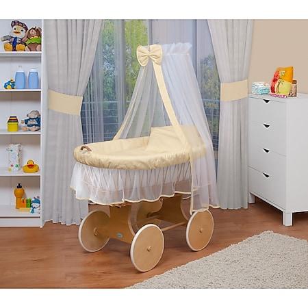 WALDIN Baby Stubenwagen-Set mit Ausstattung,XXL,Bollerwagen,komplett,24 Modelle... Gestell/Räder natur, beige/gelb/weiß - Bild 1