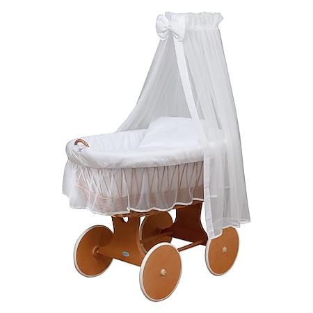 WALDIN Baby Stubenwagen-Set mit Ausstattung,XXL,Bollerwagen,komplett,24 Modelle... Gestell/Räder lackiert, weiß/weiß - Bild 1