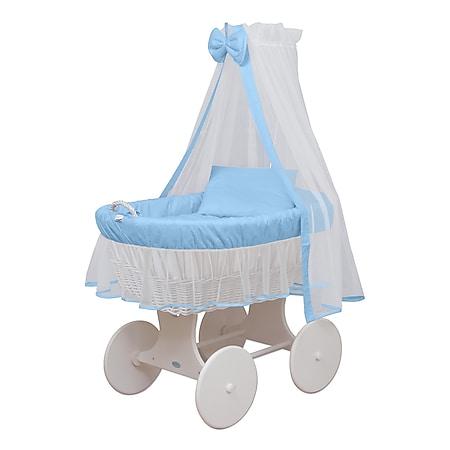 WALDIN Baby Stubenwagen-Set mit Ausstattung,XXL,Bollerwagen,komplett,24 Modelle... blau/weiss, Gestell/Räder weiß lackiert - Bild 1