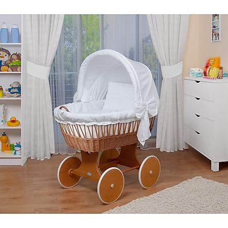 WALDIN Baby Stubenwagen-Set mit Ausstattung, XXL, Bollerwagen,komplett, 26 Modelle... weiß, Gestell/Räder lackiert - Bild 1