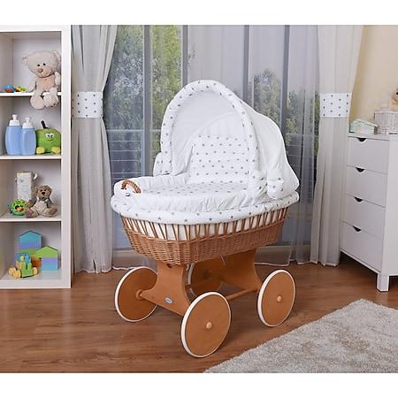 WALDIN Baby Stubenwagen-Set mit Ausstattung, XXL, Bollerwagen,komplett, 26 Modelle... Gestell/Räder lackiert, weiß/Sterne-grau - Bild 1