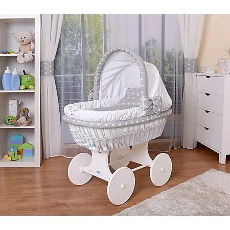WALDIN Baby Stubenwagen-Set mit Ausstattung, XXL, Bollerwagen,komplett, 26 Modelle... Gestell/Räder weiß lackiert, weiß/Sterne-weiß - Bild 1