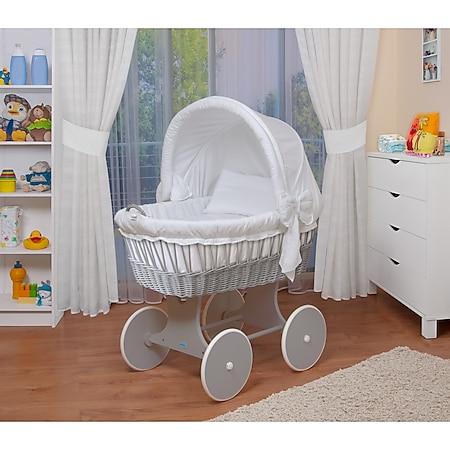 WALDIN Baby Stubenwagen-Set mit Ausstattung, XXL, Bollerwagen,komplett, 26 Modelle... weiß, Gestell/Räder grau lackiert - Bild 1