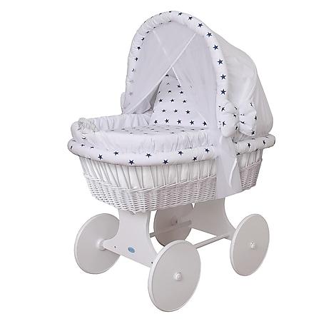 WALDIN Baby Stubenwagen-Set mit Ausstattung,XXL,Bollerwagen,komplett,44 Modelle... Gestell/Räder weiß lackiert, weiß/Sterne-blau - Bild 1