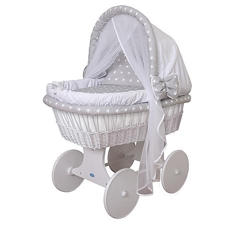 WALDIN Baby Stubenwagen-Set mit Ausstattung,XXL,Bollerwagen,komplett,44 Modelle... Gestell/Räder weiß lackiert, weiß/Sterne-weiß - Bild 1