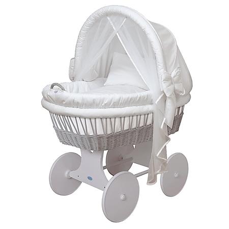 WALDIN Baby Stubenwagen-Set mit Ausstattung,XXL,Bollerwagen,komplett,44 Modelle... weiß, Gestell/Räder grau lackiert - Bild 1