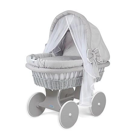 WALDIN Baby Stubenwagen-Set mit Ausstattung,XXL,Bollerwagen,komplett,44 Modelle... Gestell/Räder grau lackiert, grau/Punkte weiß - Bild 1