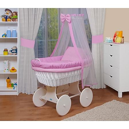 WALDIN Baby Stubenwagen-Set mit Ausstattung,XXL,Bollerwagen,komplett,18 Modelle... Gestell/Räder weiß lackiert, rosa kariert - Bild 1