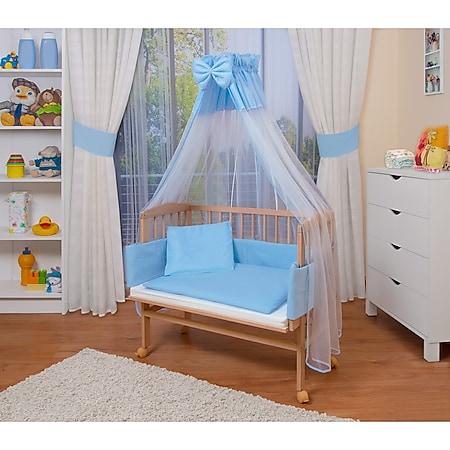 WALDIN Baby Beistellbett mit Matratze und Nestchen, 16 Modelle wählbar... blau/weiss, Natur unbehandelt - Bild 1