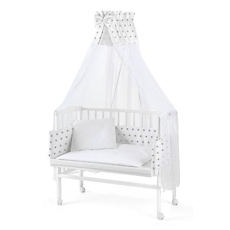 WALDIN Baby Beistellbett mit Matratze und Nestchen, 16 Modelle wählbar... weiß/Sterne-grau, Weiß lackiert - Bild 1