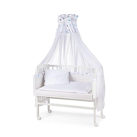 WALDIN Baby Beistellbett mit Matratze und Nestchen, 16 Modelle wählbar... Sterne-grau/blau, Weiß lackiert - Bild 1