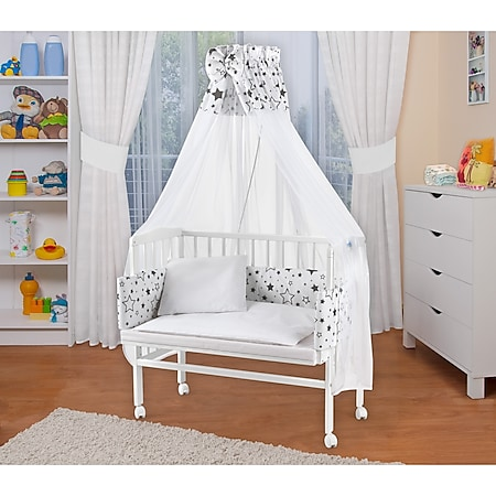 WALDIN Baby Beistellbett mit Matratze und Nestchen, 16 Modelle wählbar... Sterne, Weiß lackiert - Bild 1