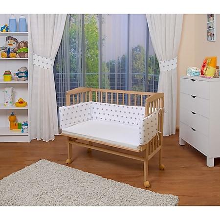 WALDIN Baby Beistellbett mit Matratze, höhen-verstellbar, Holz natur oder weiß lackiert... Sterne-grau, Natur unbehandelt - Bild 1