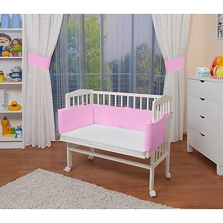 WALDIN Baby Beistellbett mit Matratze, höhen-verstellbar, Holz natur oder weiß lackiert... Rosa, Weiß lackiert - Bild 1