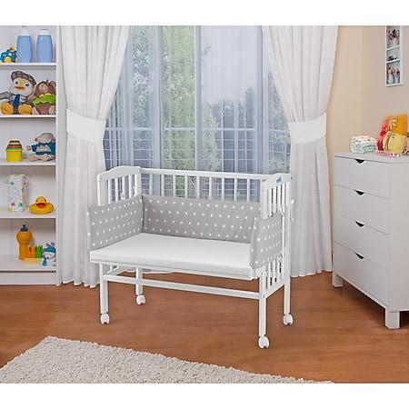 WALDIN Baby Beistellbett mit Matratze, höhen-verstellbar, Holz natur oder weiß lackiert... Sterne-weiß, Weiß lackiert - Bild 1