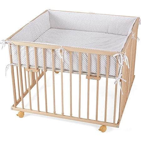 WALDIN Baby Laufgitter Laufstall ca. 100x100 BUCHE MASSIV, höhen-verstellbar, 2 Modelle... Mit-Nestchen-Grau/Punkte, Natur/unbehandelt - Bild 1