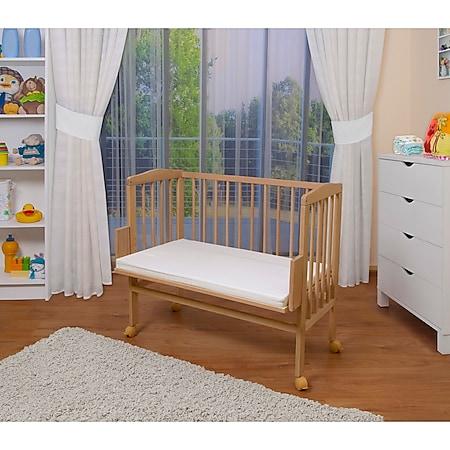 WALDIN Baby Beistellbett mit Matratze, höhen-verstellbar, Holz natur oder weiß lackiert... Natur unbehandelt - Bild 1