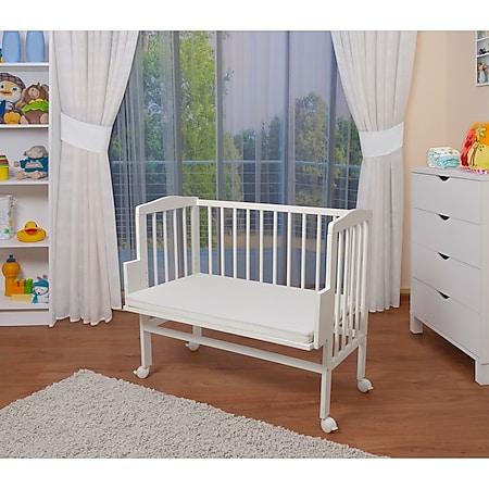 WALDIN Baby Beistellbett mit Matratze, höhen-verstellbar, Holz natur oder weiß lackiert... Weiß lackiert - Bild 1