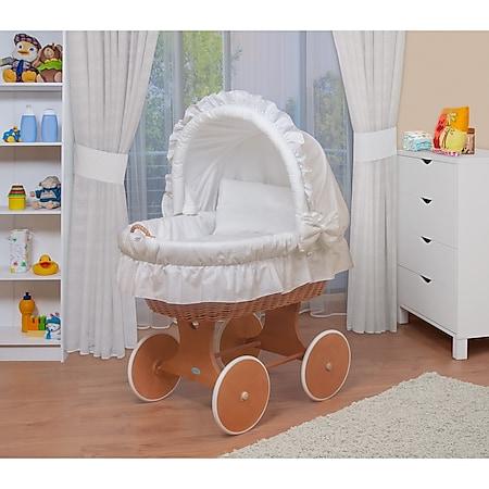 WALDIN Baby Stubenwagen-Set mit Ausstattung,XXL,Bollerwagen,komplett,3 Modelle... weiß, Gestell/Räder lackiert - Bild 1