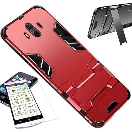 Metal Style Hybrid Case + Hartglas Rot Huawei P Smart Plus / Nova 3i - Bild 1