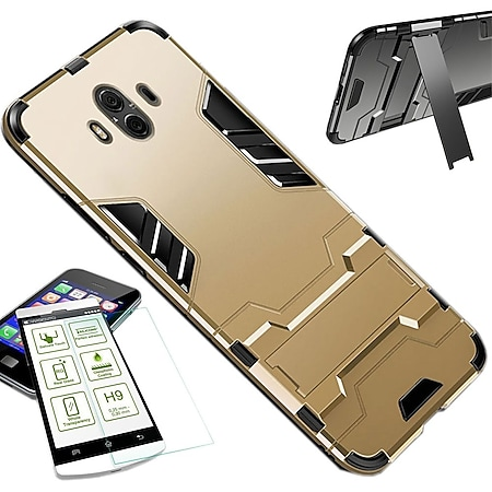 Metal Style Case Gold + Hartglas Samsung Galaxy J4 Plus J415F - Bild 1