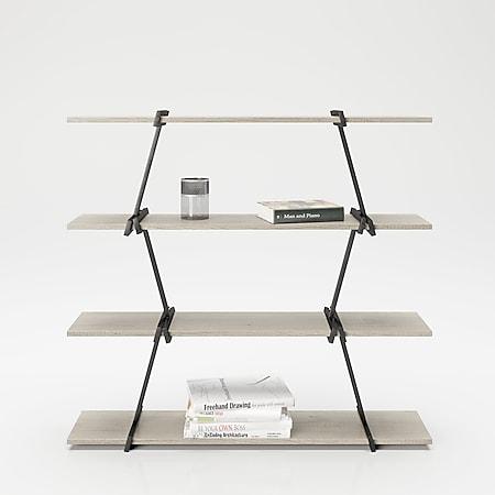 Babylon - Regal, Raumteiler, Bücherregal mit 4 Böden, Wild Eiche kombiniert mit schwarz matten Metallkomponenten, modernes Industrial Design - Bild 1