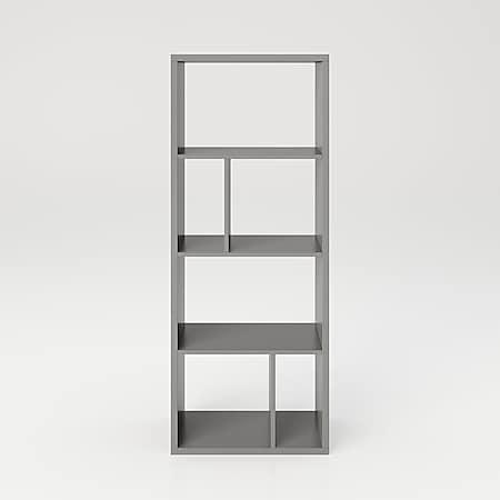 Fortuna - Bücherregal, Büroregal, Raumteiler mit 6 Fächern, asymmetrische Aufteilung, grau - Bild 1