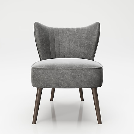 """PLAYBOY - Sessel """"HOLLY"""" gepolsterter Lounge-Stuhl mit Rückenlehne, Samtstoff in Grau mit Massivholzfüsse, Retro-Design - Bild 1"""