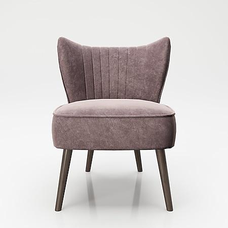 "PLAYBOY - Sessel ""HOLLY"" gepolsterter Lounge-Stuhl mit Rückenlehne, Samtstoff in Rosa mit Massivholzfüsse, Retro-Design - Bild 1"
