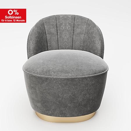 """PLAYBOY - Sessel """"STELLA"""" gepolsterter Cocktail-Sessel mit Rückenlehne, Samtstoff in Grau mit goldenem Metallfuss, Retro-Desgin - Bild 1"""