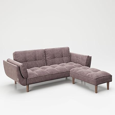 """PLAYBOY - SET Sofa mit Fussablage """"SCARLETT"""" gepolsterte Couch mit Bettfunktion, Samtstoff in Rosa mit Massivholzfüsse, Retro-Design - Bild 1"""