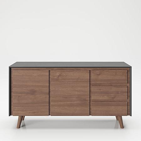 """PLAYBOY - Sideboard """"VICTORIA"""" mit 3 Schubladen und 2 Türen, sanft-schliessend, Walnuss/Grau, Retro-Design - Bild 1"""