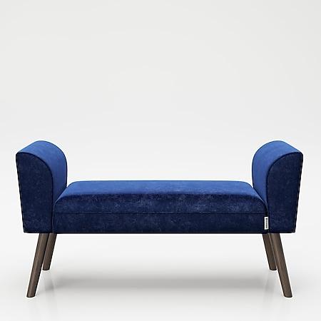 """PLAYBOY - Sitzbank """"TIFFANY"""" gepolsterte Bank mit Samtüberzug in Blau, Massivholzfüssen, Retro-Design - Bild 1"""