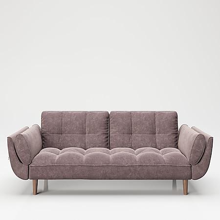 """PLAYBOY - Sofa """"SCARLETT"""" gepolsterte Couch mit Bettfunktion, Samtstoff in Rosa mit Massivholzfüsse, Retro-Design - Bild 1"""
