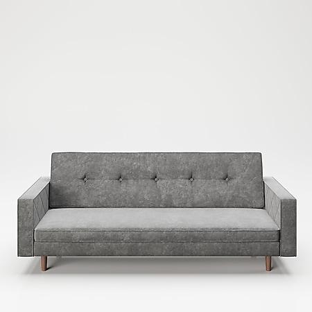 """PLAYBOY - Sofa """"SHIRLEY"""" gepolsterte Couch mit Bettfunktion, Samtstoff in Grau mit Massivholzfüsse, Retro-Design - Bild 1"""