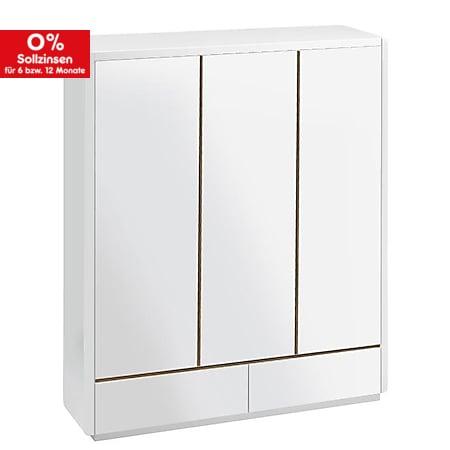 Prana - Kleiderschrank mit 3 Türen und 2 Schubladen, inkl Kleiderstange und viel Stauraum, abgerundete Kanten, weiss hochglanz - Bild 1