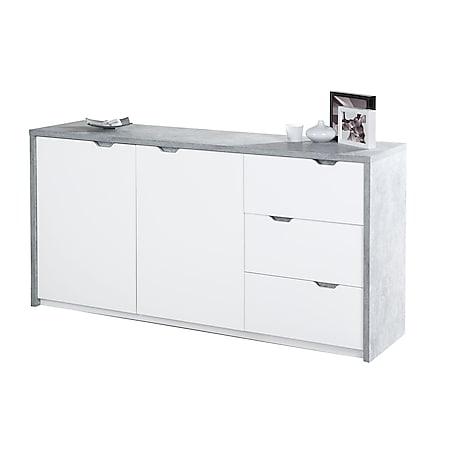 Bruno - Sideboard mit 2 Türen mit Soft-Close und 3 Schubladen mit Vollauszug, Beton Optik mit weissen Fronten - Bild 1