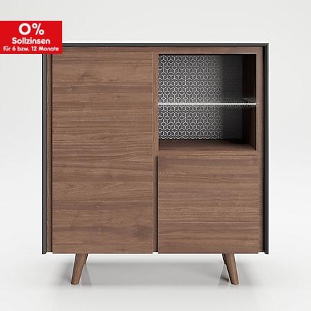 """PLAYBOY - Hochkommode """"VICTORIA"""" mit 2 Türen, sanft-schliessend und 2 Ablagen mit Glasboden und integriertem LED, Walnuss/Grau, Retro-Design - Bild 1"""