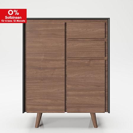 """PLAYBOY - Hochkommode """"VICTORIA"""" mit 2 Türen und 2 Schubladen, sanft-schliessend, Walnuss/Grau, Retro-Design - Bild 1"""