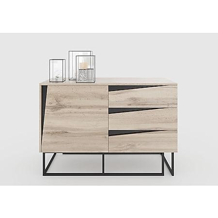 Carv - Kommode mit 3 Schubladen und 1 Tür, Push-Open-Beschläge, Wild Oak Holzdecor, Metallsockel, modernes Industrial-Design - Bild 1